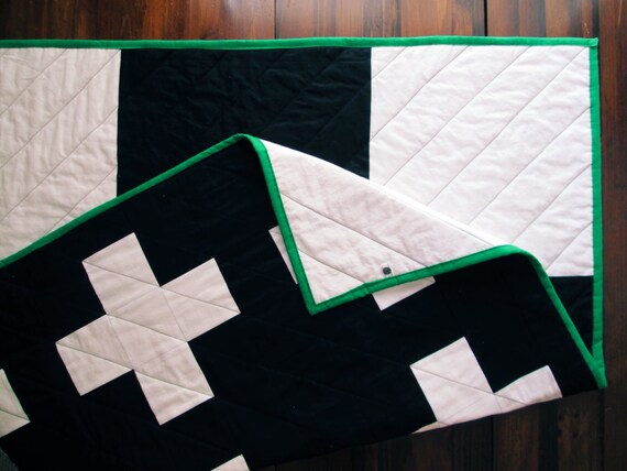 The New Addition Quilt - Black and White Modern Plus Sign Quilt