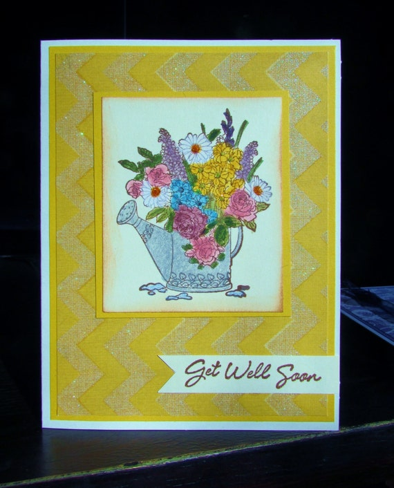 get well card handmade stamped floral get well soon card