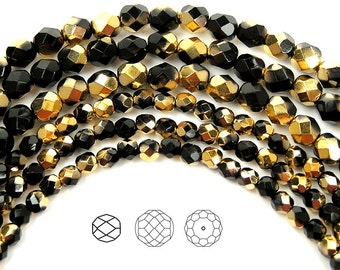 6mm (68pcs) Jet Aureate Gold half coated, Czech Fire Polished Round Faceted Glass Beads, 16 inch strand