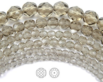 6mm (68pcs) Black Diamond color, Czech Fire Polished Round Faceted Glass Beads, 16 inch strand