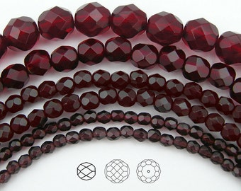 4mm (102pcs) Dark Siam / Garnet, Czech Fire Polished Round Faceted Glass Beads, 16 inch strand