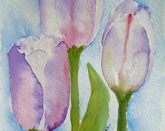 Purple Tulips Watercolor Notecard