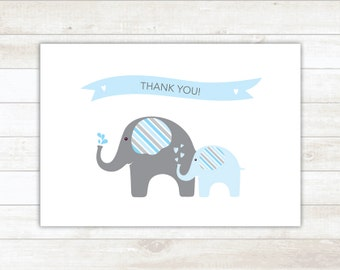 PRINTABLE thank you cards baby shower blue elephants thank you card - personal use