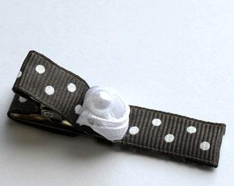 Gray Polka-Dot Hair Clip with White Rose
