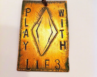 Sims 3 Plumbob Play With Life Copper Etched Necklace