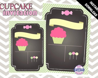 Cupcake Theme invitation tempate, Chalkboard, Create your own invitation, Any Occasion, cupcake, coordinating items available, DIY, sweets