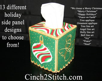 """Holiday Tissue Box Cover - In The Hoop - Machine Embroidery Design Download (5"""" x 7"""" Hoop)"""