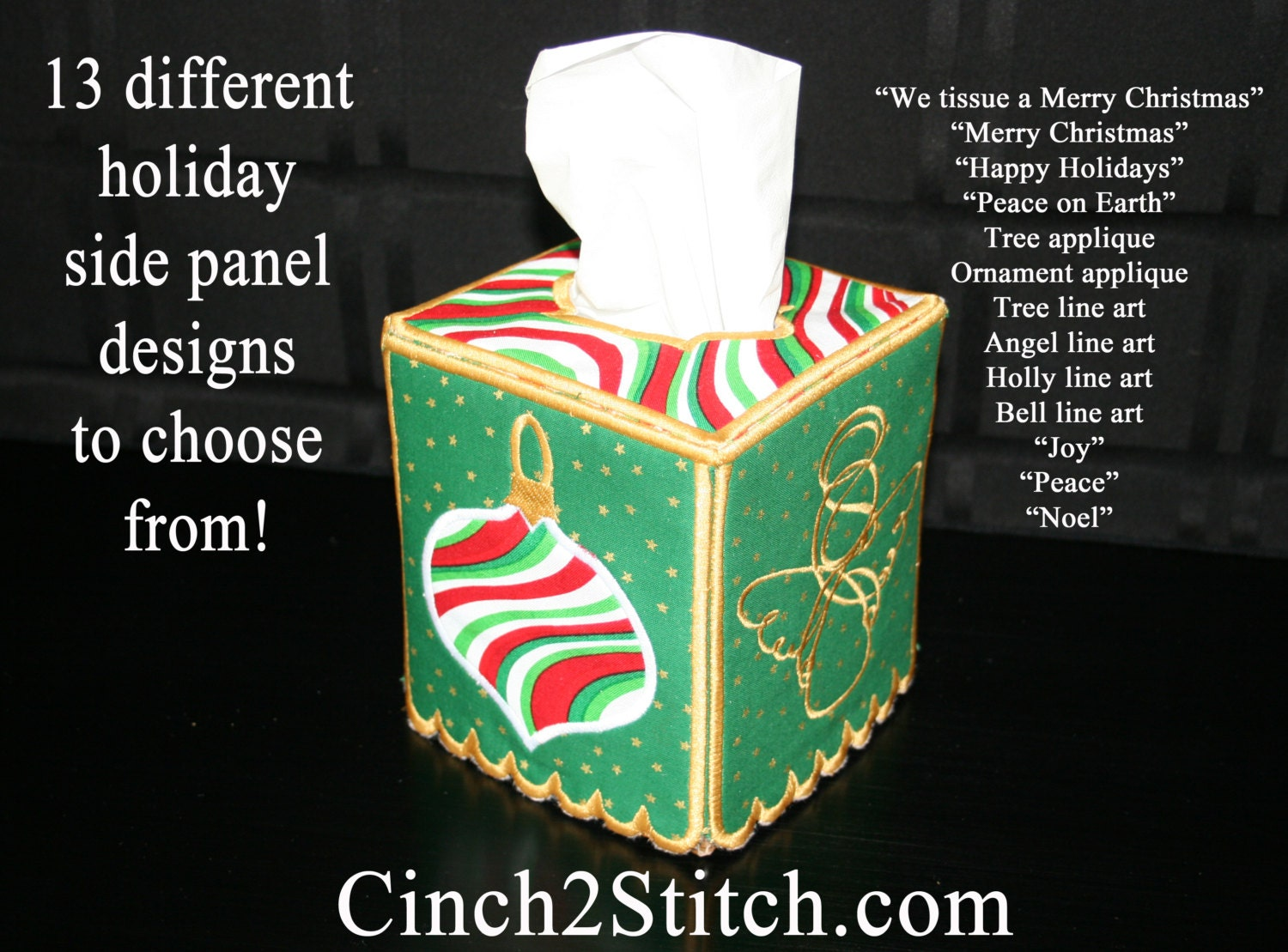 Holiday tissue box cover in the hoop machine embroidery