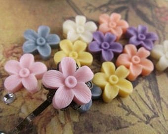 24pcs Resin flower cabochon for Pendant Charm Craft Jewelry.