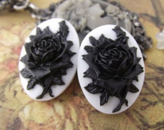 4pcs 18x25mm Beautiful Resin flower cameo Cabochon.