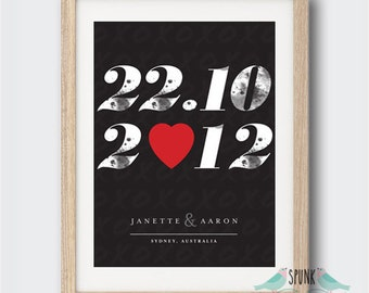 Wedding Anniversary Date Wall Art Print