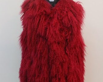 Red vest in mongolia with nappa leather back