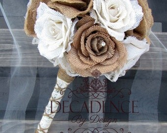 Burlap Bouquet, Burlap Rose Bouquet, Cottage Chic, Country Chic, Simple Rhinestone Bouquet, Handmade Bouquet