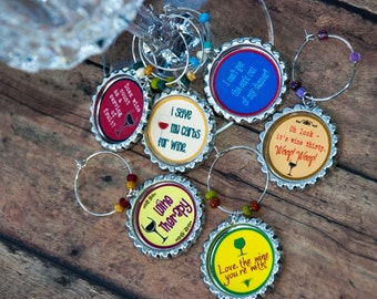 Wine charms, wine glass, party favor, bunco, funny wine charms, birthday wine, anniversary gift, birthday gift, housewarming, book club