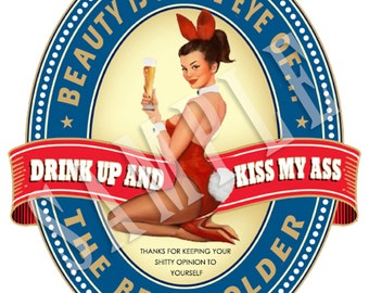 """Vintage Style """"Beer Bunny"""" Hot Rod Sticker Rat Rod decal old Playboy style bunny Bottle Lable"""