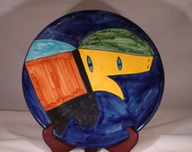 "Vintage Picasso Style Abstract Art Pottery Wall Plate Signed Amora Mexico 1980s 11 1/2"" Excellent"