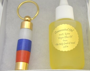 LDS Consecrated Oil Vial with the Russian Flag Key Chain