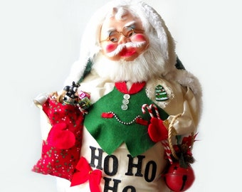 Santa Doll Christmas Decoration, Large Assemblage, Mixed Media Recycled Art, Traditional Holiday Decor
