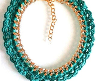 Statement Necklace. Woven Chain Necklace 100% Handmade in dark green!