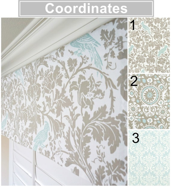 taupe valance light blue valance floral window by. Black Bedroom Furniture Sets. Home Design Ideas