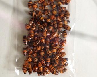 Orange Tiger Print Paper Beads