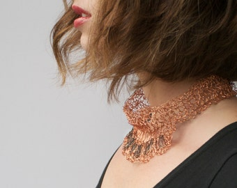 Black and Copper Collar Necklace