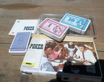 vintage 3 sealed decks of Playing Cards POKER GAME in original box