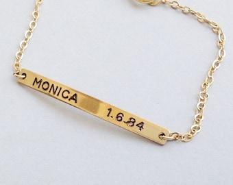 Personalized Bar - Gold Nameplate Bracelet - Engraved Bar - Bar Name Bracelet - Bar Bracelet Engrave - B016