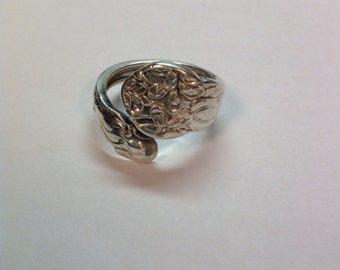 Sale Vintage Sterling Silver Floral Spoon Ring Size 9