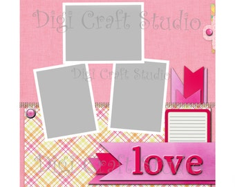 Love Digital Scrapbook Quick Page 12 x 12 jpg and png format.
