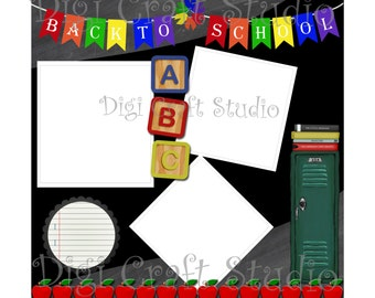 Back to School Digital Scrapbook Quick Page 12 x 12 png and jpg format.