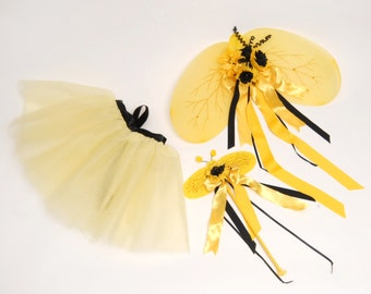 Bumble Bee Wings and Wand and Ttutu / Bumble Bee Halloween Costume