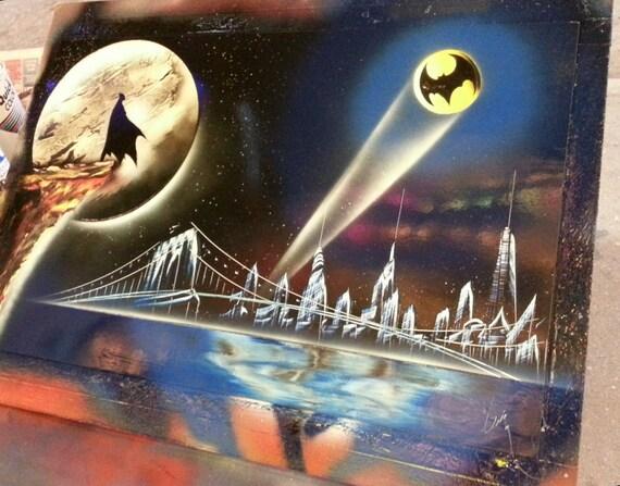 batman spray paint art space painting. Black Bedroom Furniture Sets. Home Design Ideas