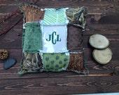 Baby Rag Quilt Pillow - BUCKS, TRACKS & RUBS™ - Baby Bedding, Nursery Bedding, Camo Bedding, Hunting Bedding, Deer Bedding, Personalized
