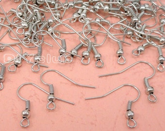 100pcs of  Silver Earring Wires French Style Hooks 20x18mm