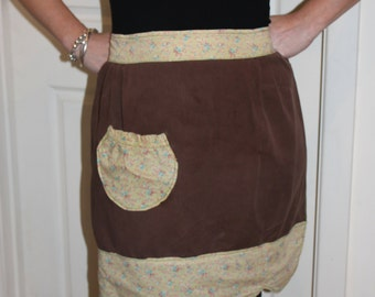 KLV Apron Sale! Brown and Delicate Florals Handmade Apron