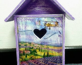 lovely wall key holder with purple painted and lavender