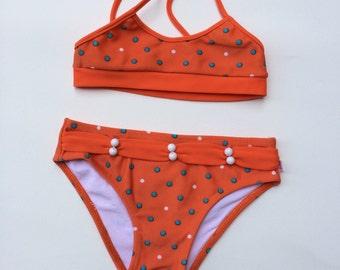 Orange Polka Dot Bikini (Childrens Size 4)