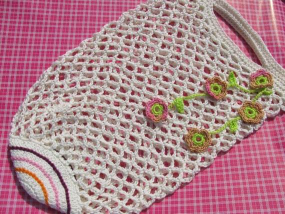 bag of crochet cotton with flower pendulum, ecru, crochet, crocheted ...