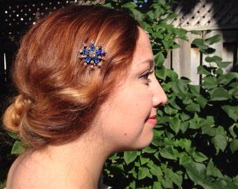 Sapphire Blue Hair Comb: Winter Vintage Sapphire Blue and Clear Diamanté Wedding Comb