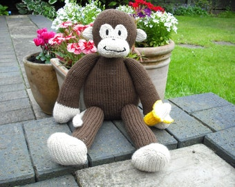 Hand Knitted Monkey Toy - made from a Sarah Keen pattern