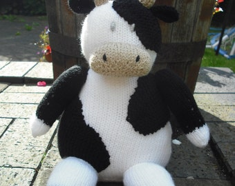 Farmyard Cow Hand Knitted Toy (made from a Sarah Keen pattern).