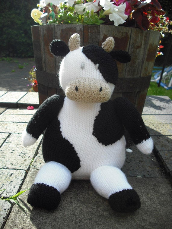Knitting Pattern Cow Toy : Farmyard Cow Hand Knitted Toy made from a by QuickSticksKnits