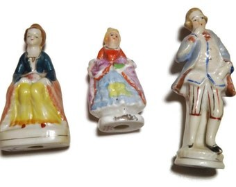 3 Occupied Japan Figurines - Victorian Looking People - Hand Painted -  3 for 1 low price - Vintage Collectibles - Knick Knacks