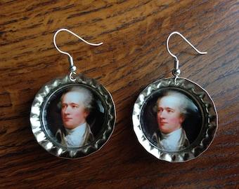 Alexander Hamilton Bottlecap Earrings