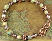 African Turquoise, Czech Glass, Antiqued Copper Bracelet, Handmade