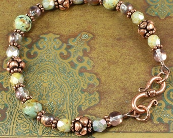 African Turquoise, Czech Glass, Antiqued Copper Bracelet, Handmade