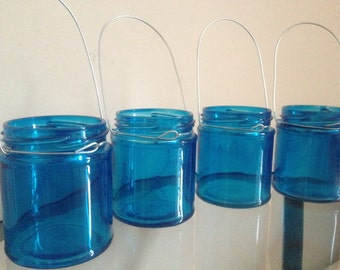 blue glass mason jar hanging tea light candle holder lantern, ideal for weddings & parties.