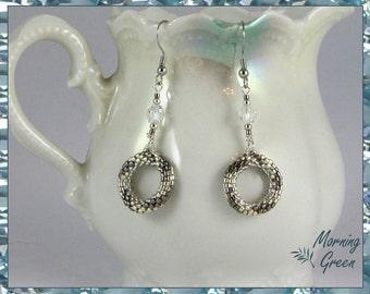 Peyote Circle Earrings, Silver and Steel-grey Myuki  delica Seed Bead Earrings(155)