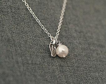 Delicate Necklace, Swarovski Pearl Necklace